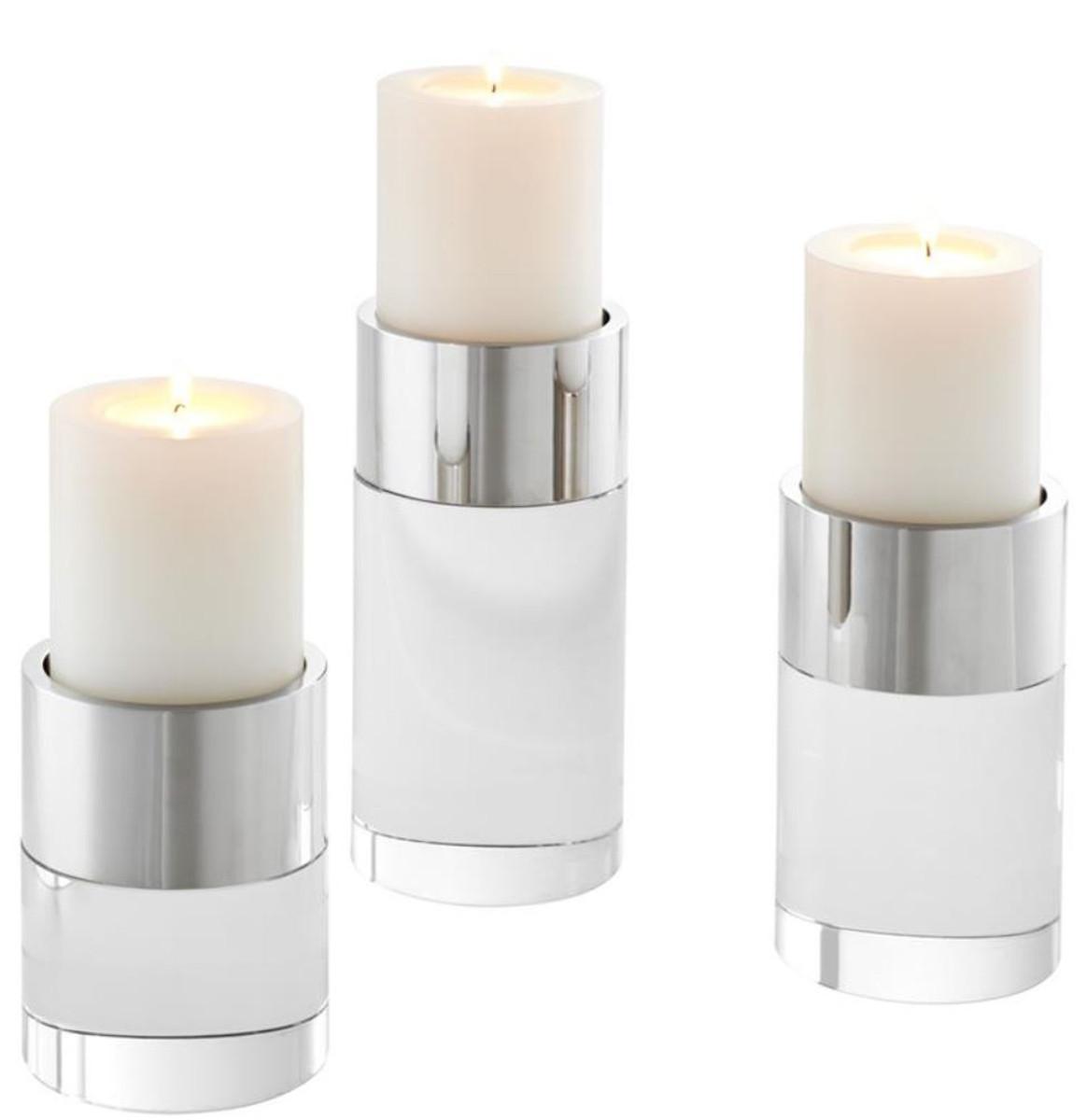 Casa Padrino Luxus Kristallglas Kerzenhalter Set Silber - Wohnzimmer Deko