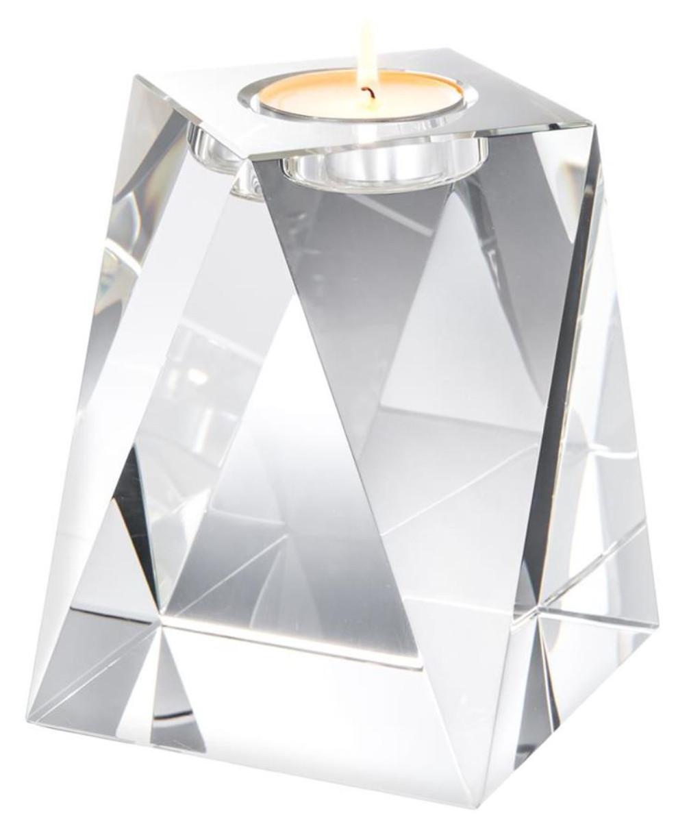 Casa Padrino Kristallglas Teelichthalter 15 x 15 x H. 18 cm - Luxus Deko Accessoires