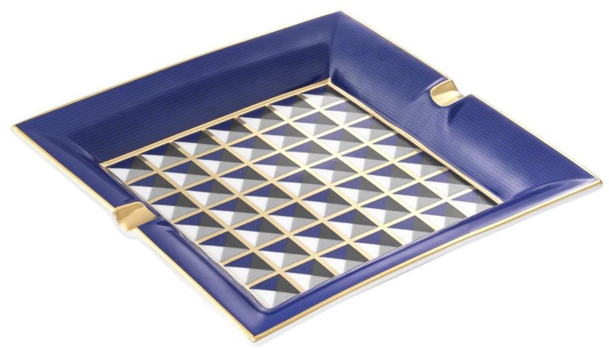 Casa Padrino Luxus Porzellan Design Aschenbecher Blau / Mehrfarbig 24,5 x 24,5 x H. 3,5 cm - Wohnzimmer Accessoires