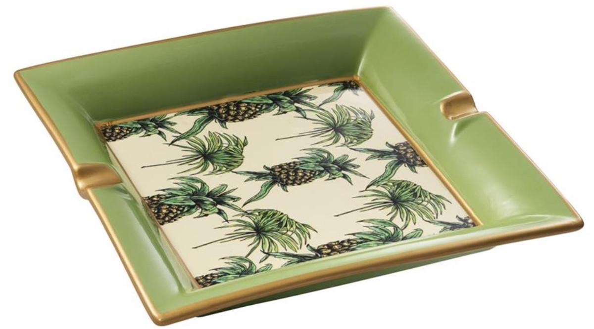 Casa Padrino Luxus Porzellan Aschenbecher Ananas Design Grun