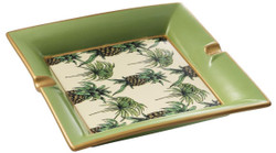 Casa Padrino Luxury Porcelain Ashtray Pineapple Design Green / Multicolor 24.5 x 24.5 x H. 4 cm - Living Room Accessories