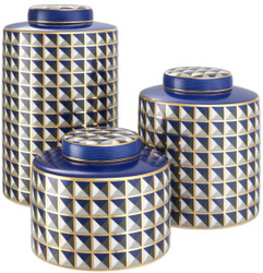 Casa Padrino Luxury Porcelain Design Jar Set of 3 Blue / Multicolor - Luxury Quality