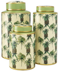 Casa Padrino Luxury Porcelain Jar Set of 3 Pineapple Design Green / Multicolor - Luxury Quality