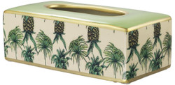 Casa Padrino Luxury Porcelain Tissue Box Green / Multicolor 25 x 13 x H. 9 cm - Tissue Box with Pineapple Design