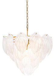 Casa Padrino Chandelier Antique Brass Ø 62 x H. 60 cm - Luxury Chandelier with Frosted Glass
