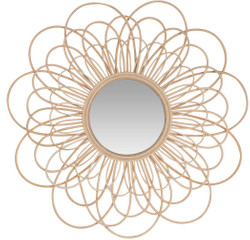 Casa Padrino designer rattan mirror natural colors Ø 85 cm - Wall Mirror in Floral Design