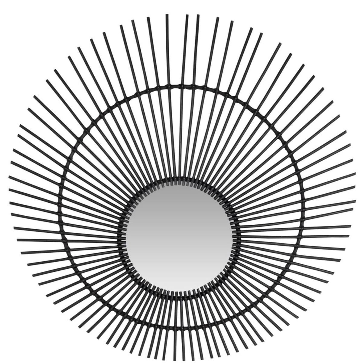 Casa Padrino Designer Rattan Spiegel Schwarz O 120 Cm Wandspiegel