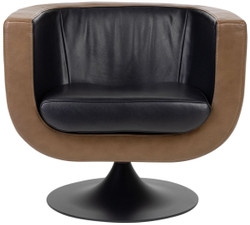 Casa Padrino luxury living room genuine leather swivel armchair black / brown 75 x 70 x H. 66.5 cm - Luxury Furniture