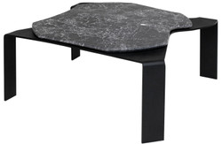 Casa Padrino luxury coffee table black / gray 75.5 x 78 x H. 32.5 cm - Designer Coffee Table with Marble Top