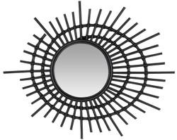 Casa Padrino Designer Rattan Spiegel Schwarz Ø 75 cm - Deko Accessoires