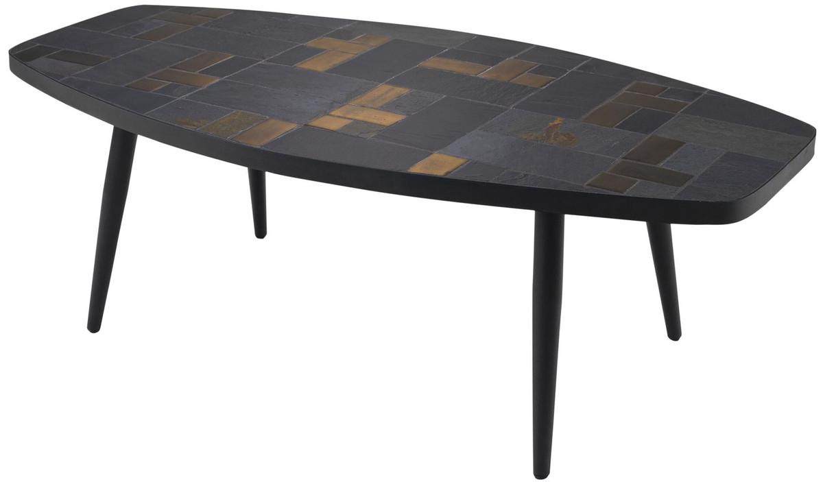 Casa Padrino table de salon de luxe multicolore / noir 120 x 60 x H. 40 cm  - Table Basse avec Tuiles d\'Ardoise et Carreaux de Céramique