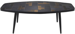 Casa Padrino luxury living room table multicolor / black 120 x 60 x H. 40 cm - Coffee Table with Slate Tiles & Ceramic Tiles
