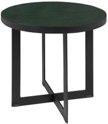 Casa Padrino Luxury Coffee Table Green / Black Ø 50 x H. 45 cm - Round Living Room Table with Ceramic Tiles