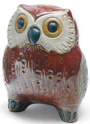 Casa Padrino luxury porcelain figurine owl red / multicolor 13 x H. 16 cm - Deco Sculpture