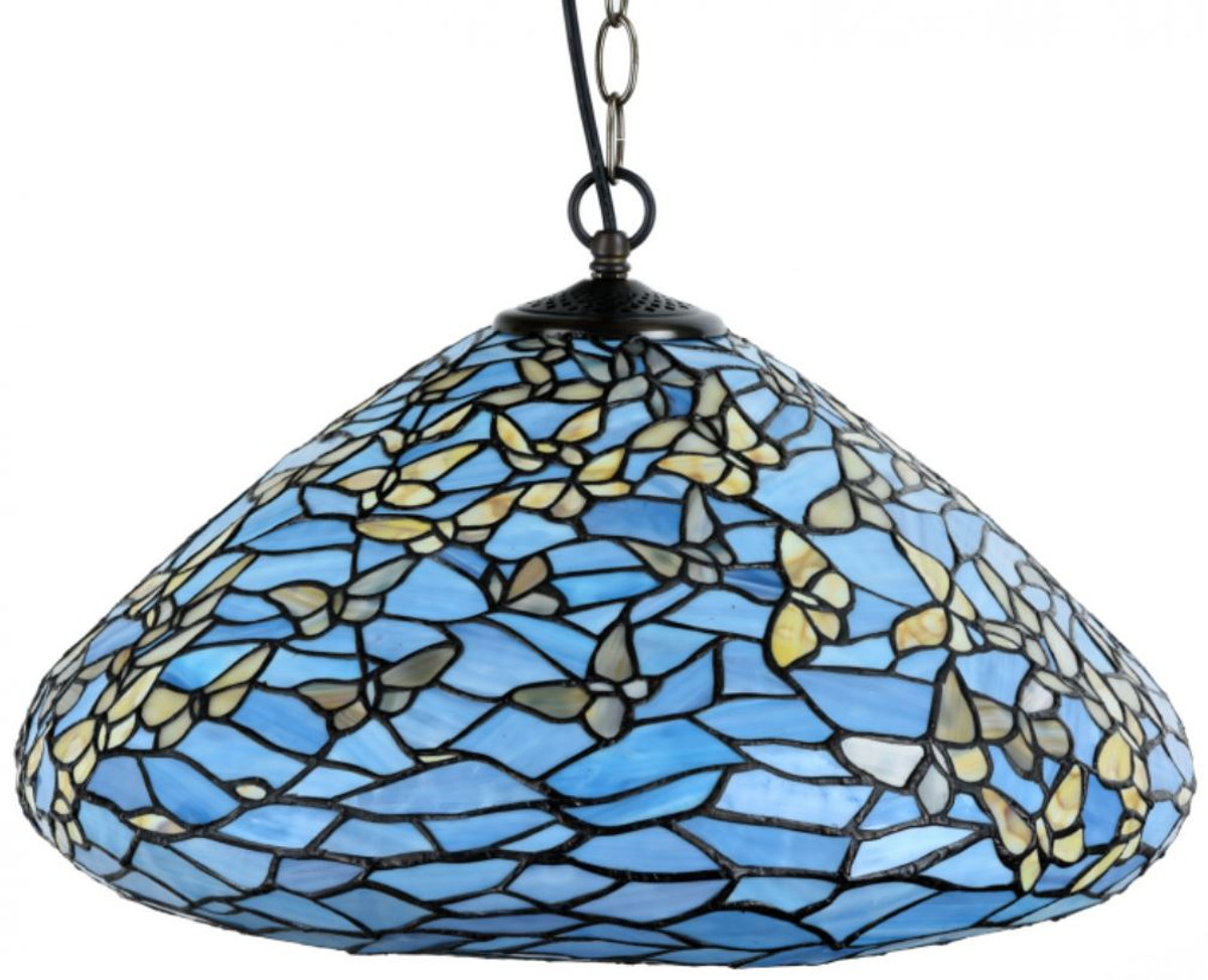 Casa Padrino Luxury Tiffany Pendant Lamp Butterflies Blue Multicolor O 50 X H 135 Cm Hanging Lamp Made Of Numerous Glass Mosaic Pieces