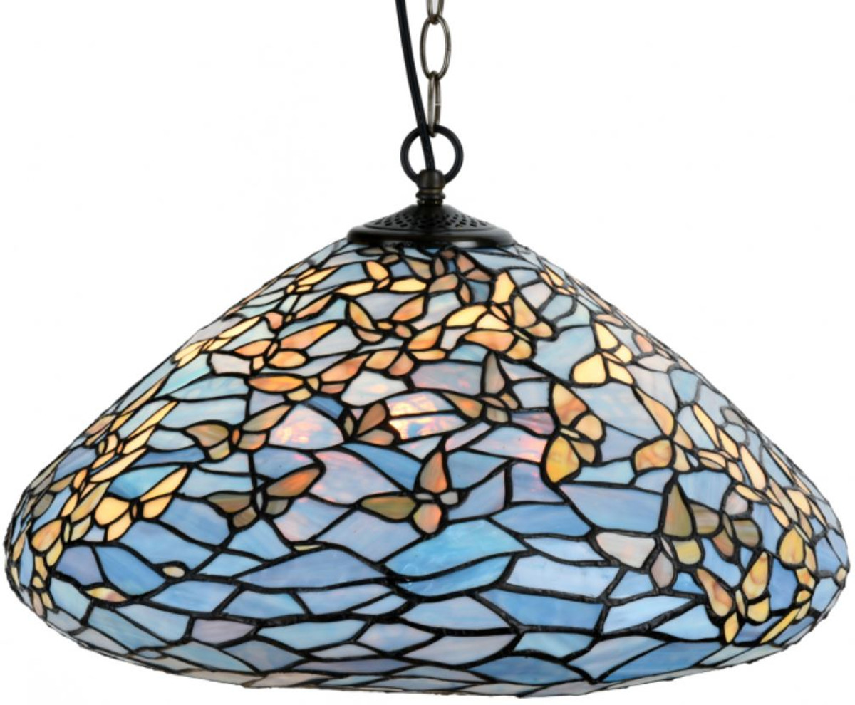 Casa padrino luxury tiffany pendant lamp butterflies blue multicolor ø 50 x h 135 cm hanging lamp made of numerous glass mosaic pieces