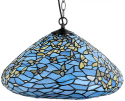 Casa Padrino Luxury Tiffany Pendant Lamp Butterflies Blue / Multicolor Ø 50 x H. 135 cm - Hanging Lamp made of numerous Glass Mosaic Pieces