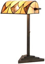 Casa Padrino Luxury Tiffany Table Lamp Black / Yellow 22 x 14.5 x H. 42 cm - Desk Lamp
