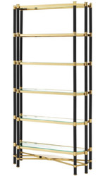 Casa Padrino Luxury Living Room Shelf Cabinet Gold / Black 110 x 35 x H. 220 cm - Living Room Cabinet