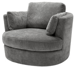 Casa Padrino Luxury Armchair / Swivel Armchair Gray 110 x 100 x H. 70 cm - Living Room Furniture