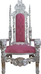 Casa Padrino Baroque throne armchair pink / silver with bling bling rhinestones king chair - wedding armchair - giant armchair