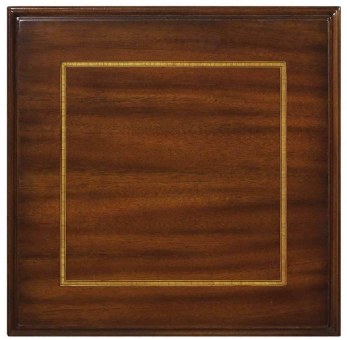 Casa Padrino Luxus Jugendstil Mahagoni Holz Wohnzimmer Beistelltisch mit  Schublade Dunkelbraun / Gold 19 x 19 x H. 19 cm - Luxus Qualität