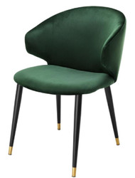 Casa Padrino luxury dining chair with armrests dark green / black / gold 57 x 66 x H. 83 cm - Dining Room Furniture