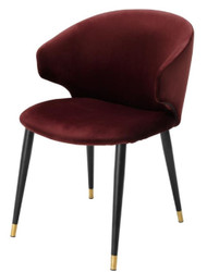 Casa Padrino luxury dining chair with armrests dark bordeaux red / black / gold 57 x 66 x H. 83 cm - Dining Room Furniture