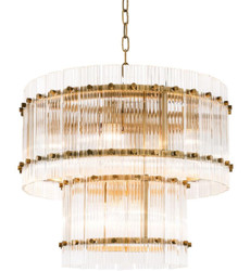Casa Padrino Chandelier Antique Brass Ø 57 x H. 47 cm - Round Luxury Chandelier