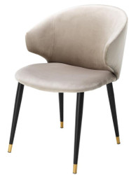 Casa Padrino luxury dining chair with armrests beige / black / gold 57 x 66 x H. 83 cm - Dining Room Furniture