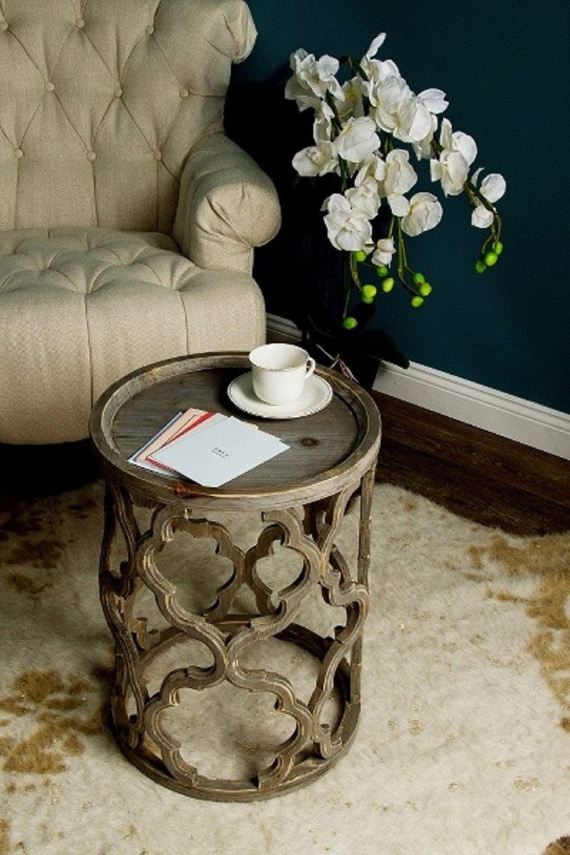 Casa Padrino table d\'appoint design brun Ø 40 x H. 54 cm - Table Ronde en  Bois Moderne