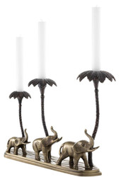 Casa Padrino luxury candle holder elephants & palm trees antique brass / bronze 38 x 7.5 x H. 28.5 cm - Hotel & Restaurant Decoration Accessories