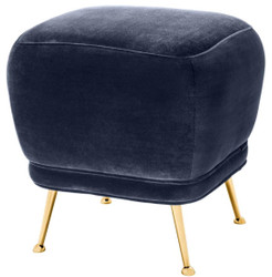 Casa Padrino luxury velvet stool midnight blue / brass 47 x 47 x H. 47 cm - Luxury Furniture