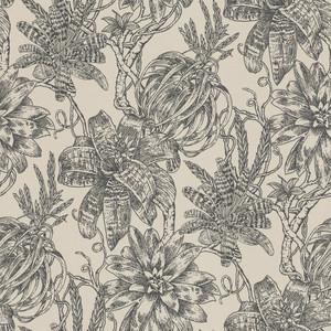 Casa Padrino Luxus Papiertapete Matt Beige / Anthrazit - 10,05 x 0,53 m - Tapete mit Blumen Design