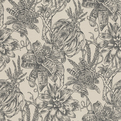 Casa Padrino luxury paper wallpaper matte beige / anthracite - 10.05 x 0.53 m - Wallpaper with Flowers Design