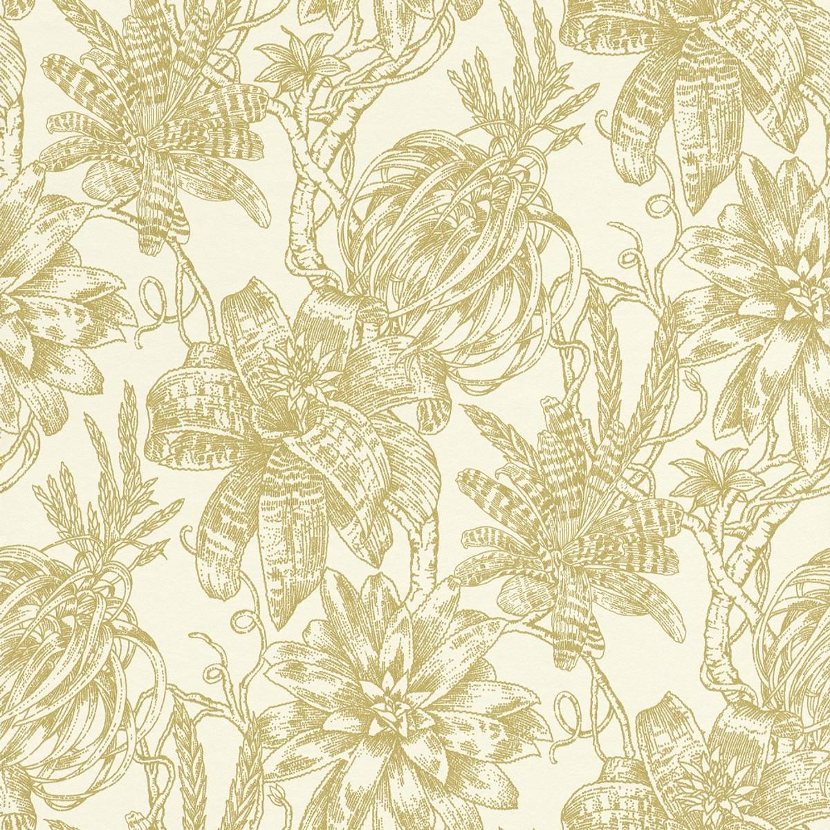 Casa Padrino Luxury Paper Wallpaper Matt Cream Gold 1005 X 053