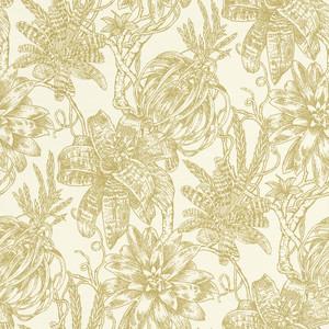 Casa Padrino Luxus Papiertapete Matt Creme / Gold - 10,05 x 0,53 m - Tapete mit Blumen Design
