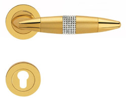 Casa Padrino Luxury Door Handle Set Gold 16 x H. 5 cm - Door Handles with Swarovski Crystals