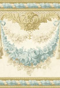 Casa Padrino Barock Papiertapete Beige / Gold / Türkis - 5,00 x 0,61 m - Prunkvolle Mustertapete mit Blumen Design und wunderschönen Verzierungen