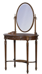Casa Padrino Luxury Baroque Vanity Table Dark Brown / Brown 80 x 57 x H. 142 cm - Oval Vanity Table in Baroque Style