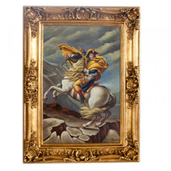 Huge hand-painted Baroque oil painting Napoleon on horse gold pageant frame 220 x 160 x 10 cm - Massive material