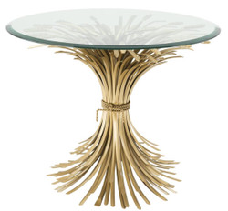 Casa Padrino luxury side table antique gold Ø 90 x H. 70 cm - Round Designer Side Table with Bevelled Top