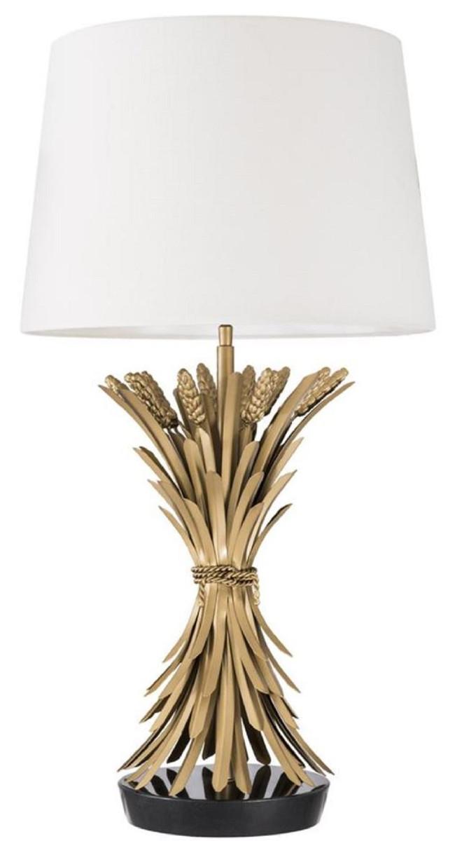 Casa Padrino Lampada Da Tavolo Di Lusso Oro Antico Nero Bianco O 45 X H 85 Cm Lampada Da Tavolo Di Design Con Base In Granito E Paralume Casa Padrino De