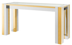 Casa Padrino luxury stainless steel console silver / gold 160 x 50 x H. 78 cm - Designer Console Table with Glass Top