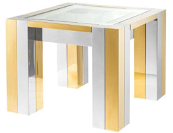Casa Padrino luxury stainless steel side table silver / gold 65 x 65 x H. 50 cm - Designer Side Table with Glass Top