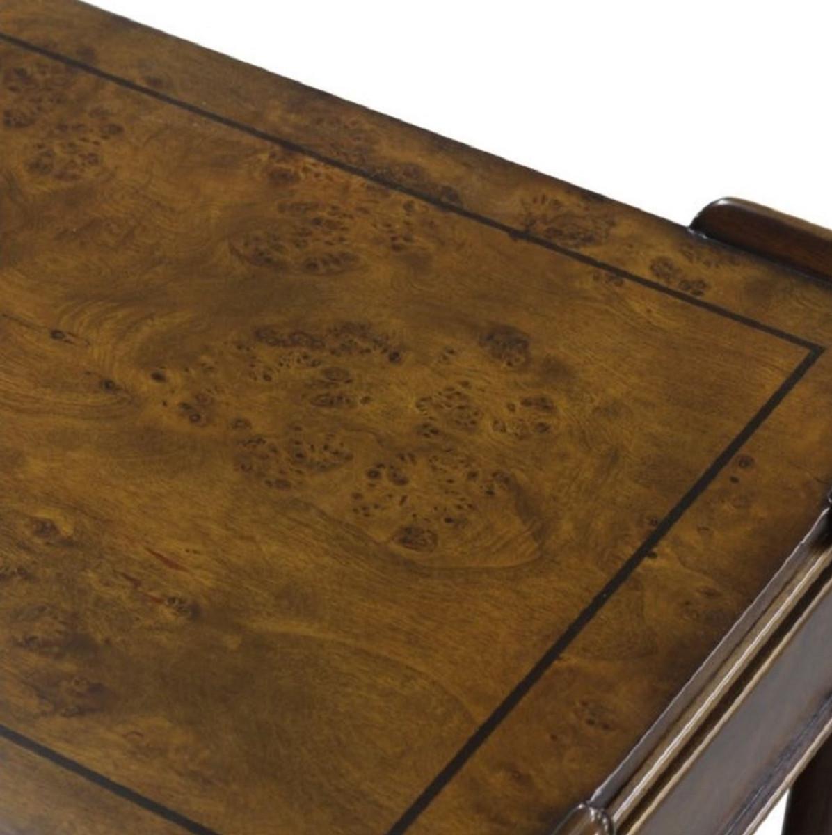 Casa Padrino Luxus Jugendstil Konsole Braun / Dunkelbraun 152 x 46 x H. 79 cm - Konsolentisch mit 2 Schubladen und Rollen 4