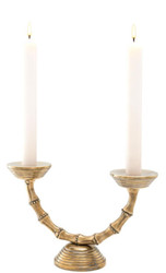 Casa Padrino Luxury Double Candle Holder Vintage Brass 32.5 x 11 x H. 21 cm - Hotel & Restaurant Decoration Accessories
