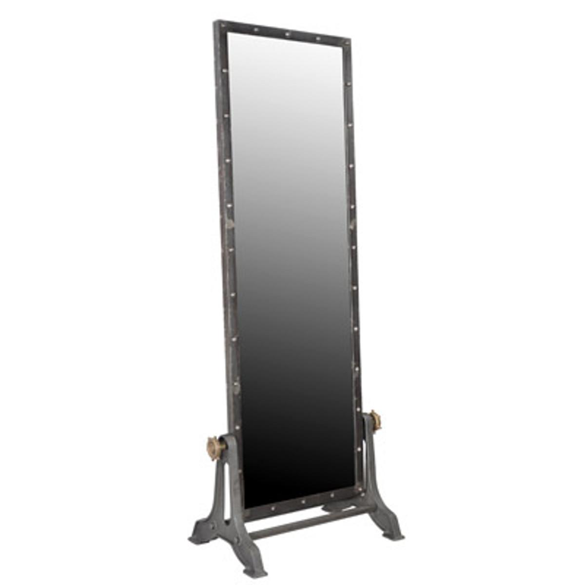 Casa Padrino Vintage Industrial Standspiegel Aluminium schwenkbar 194 cm - Möbel Metall Spiegel 1