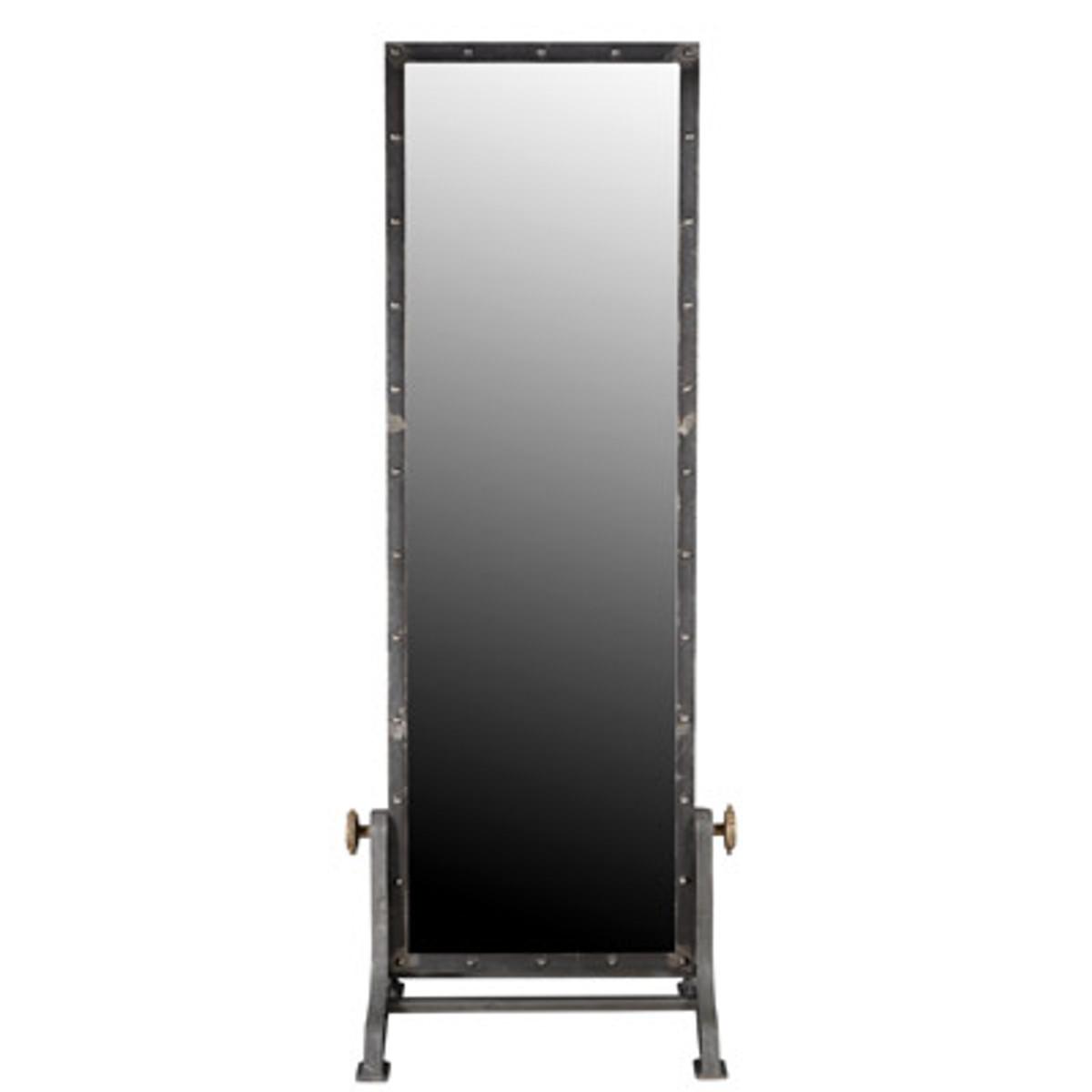Casa Padrino Vintage Industrial Standspiegel Aluminium schwenkbar 194 cm - Möbel Metall Spiegel 2