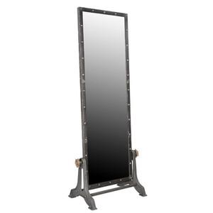 Casa Padrino Vintage Industrial Standspiegel Aluminium schwenkbar 194 cm - Möbel Metall Spiegel